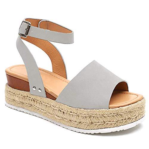 YYW Women\'s Ankle Strap Open Toe Wedge Platform Sandals Summer Cork Espadrille Flatform Sandal (Gray,9 M US)