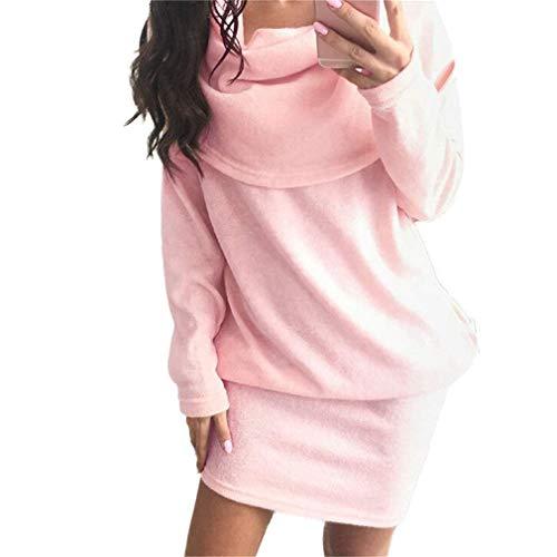 Monocromo Chic Tempo Ragazza Maniche Lunghe Felpe Corto Autunno Lunga Party Primaverile Libero Rosa Pullover Abiti Vestiti Fashion Eleganti Mini Doona ZTXiOuPk