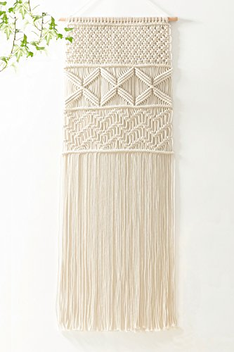 Mkono Macrame Wall Hanging Woven Tapestry Boho Bohemian Home Decor for Apartment Bedroom Living Room, 43