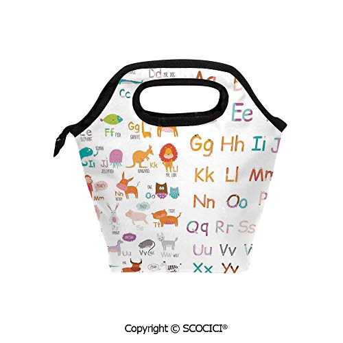 Reusable Printed Design Lunch Bag Colorful Alphabet Zoo Letters Learn to Read Mr.Bear Tiger Iguana Monkey Unicorn Ant Print Lunch Tote bag for Work and School.