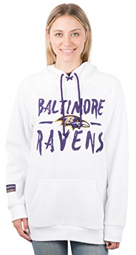(NFL Baltimore Ravens Women's Fleece Hoodie Pullover Sweatshirt Tie Neck, Small, White)