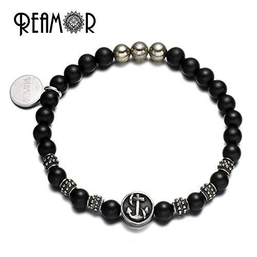 Stainless Steel Horseshoe Rudder Cross Beads | with Natural Black Onyx Iron Bead | Stretch Bracelet for Men Jewelry (YSC031 2)