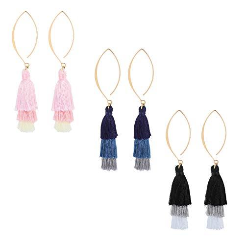 Ogemluv Bohemian Layered Tassel Earrings Arched Threader Dangle Drop Earrings 3 Pairs Set by Ogemluv