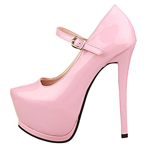 HooH Women's Sexy Platform Buckle Strap Setiletto Pump Pink V1wkyco