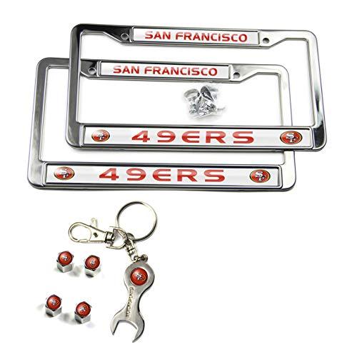 MT-Sports Store Football Team Car Licenses Plate Stainless Steel Frames & 4 Pcs Tire Valve Stem Caps (San Francisco 49ers) ()