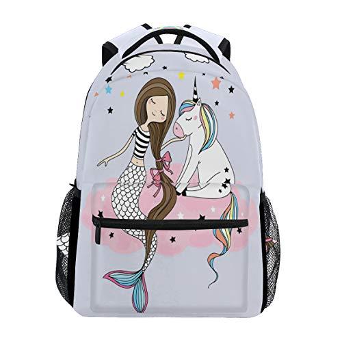 ZZKKO Ocean Sea Mermaid Girl Unicorn Backpacks College School Book Bag Travel Hiking Camping Daypack -