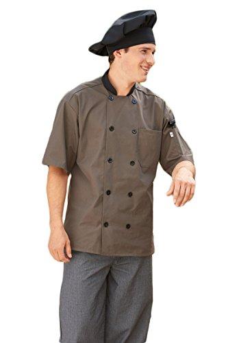 Averill's Sharper Uniforms Men's Havana Short Sleeve Poly Cotton Moisture Wicking Chef Coat, 4XL, - Coat Olive Chef