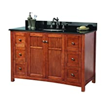 "Foremost KNCABK4922D Knoxville 49"" W x 22"" D Vanity in Nutmeg with Granite Top in Black"