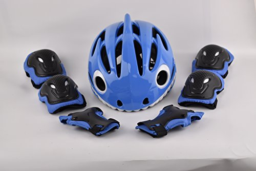 ADMIRE Kids Skateboard Skate Scooter Cycling Bike Helmet with Safety Knee Pads Elbow Wrist Protection Set Adjustable from Toddler to Youth Size for 3-10 Years Old Boys and Girls (Blue, Small)