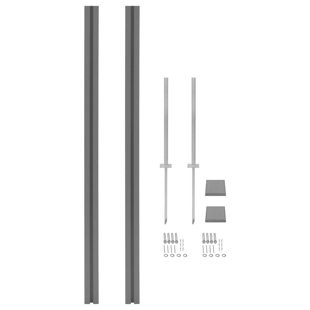 Grey 2x Fence Posts 185cm Grey 2x Fence Posts 185cm vidaXL 2x Replacement WPC Fence Posts 185cm Grey Garden Panel Support Holder