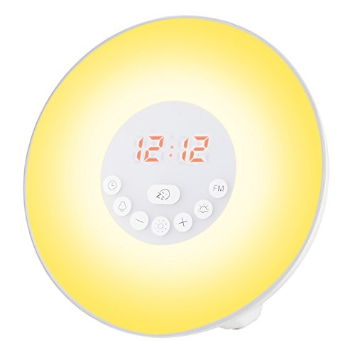 LBell Wake Up Light, 2017 Newest 6 sounds Sunrise Simulation Alarm Clock 7 colors Bedside Night Light with Sunset&Snooze Function, Nature Sounds, FM Radio, Touch Control and USB Charger Image