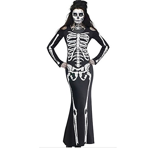 Plus Size Skeleton Zombie Costumes (Lada Vida Women's Halloween Customs Skeleton Print Sexy Full Sleeve Long Party Theme 2017)