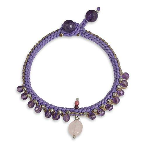 NOVICA Multi-Gem Amethyst Silver Plated Beaded Bracelet, 7.25