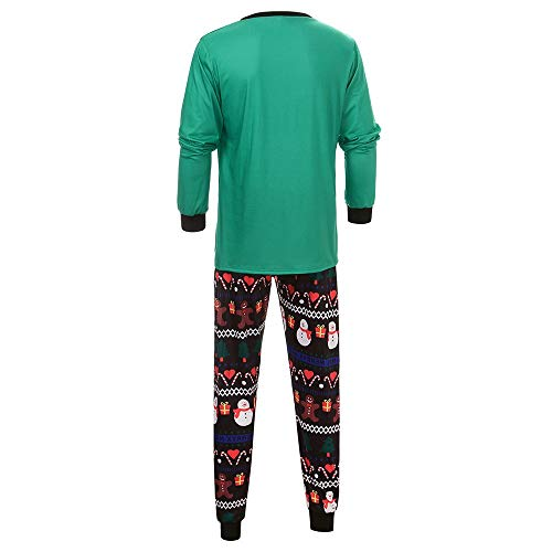 Uomo Neve 2pcs Cartoon Stampa Da Pigiama Ragazzo Di Verde Natale Per Qinmm Pigiami Famiglia donna Pupazzo Uomo Matching Top Pantaloni 4gBqwWp
