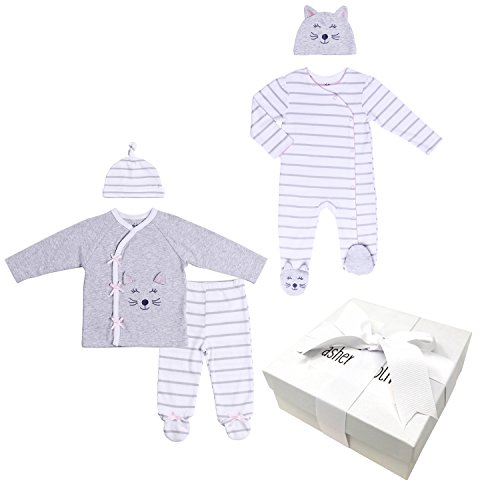 Baby Girl Gift Set – 5 Piece Infant Girl Kitty Layette Set with Gift Box - Unique Newborn Gift Idea for Baby Showers