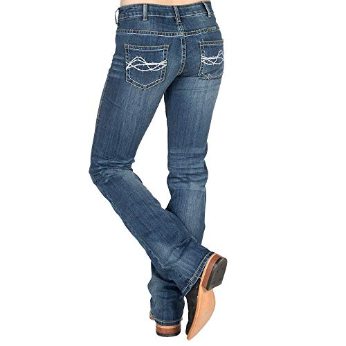Cowgirl Tuff Women's Don't Fence Me in Jeans Indigo 36W x -