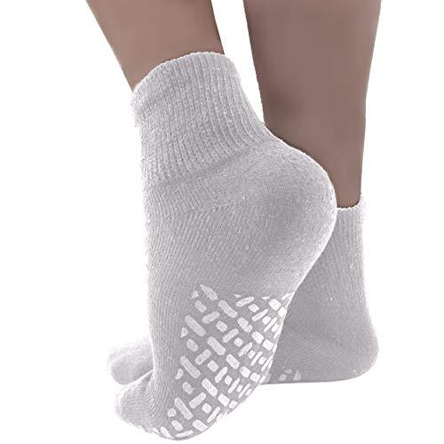 Diabetic Socks Mens Non-slip Grip Cotton 12-Pack Ankle White By DEBRA WEITZNER (Male Diabetic Socks)