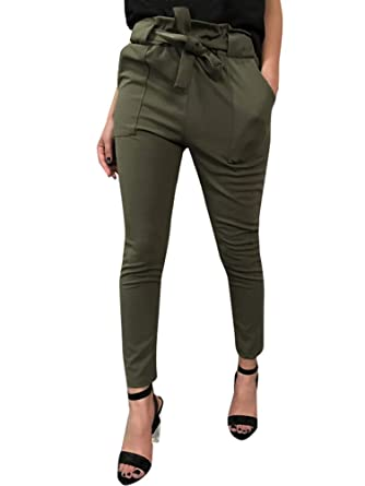 ORANDESIGNE Damen Hosen Elegant High Waist Stretch Skinny Hosen Pants  Casual Streetwear Hosen Haremshose Sommerhose mit Gürtel  Amazon.de   Bekleidung 8e7c718423