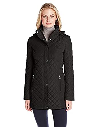 Calvin Klein Women's Classic Quilted Jacket with Side Tabs, Black, X-Small