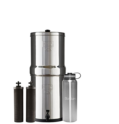 Royal Berkey Water Filter System includes Black filters (3 Gallon) bundled with Boroux 40 oz Stainless Steel Double Wall Bottle by Boroux