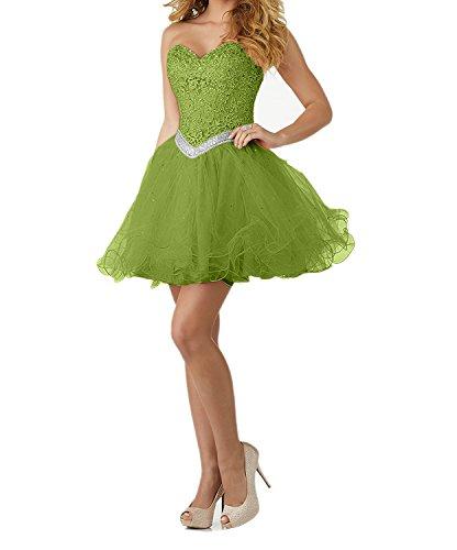 Abiballkleider Neu Abendkleider Mini Cocktailkleider Gruen Olive mia Rosa Spitze Tanzenkleider La Promkleider Herzausschnitt Braut XqP8znS