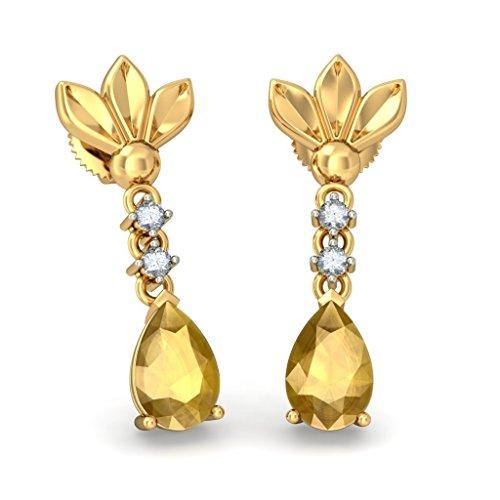 Or jaune 14K 0,06CT TW White-diamond (IJ | SI) et citrine Pendants d'oreilles