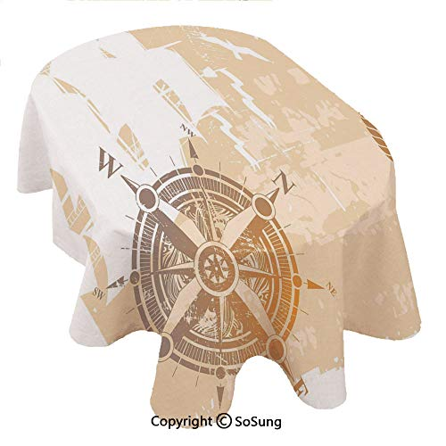 SoSung Compass Oval Polyester Tablecloth,Nautical Themed Compass Marine Life Inspired Windrose Ship Rope Background Decorative,Dining Room Kitchen Oval Table Cover, 60 x 84 inches,Sand Brown Marigold