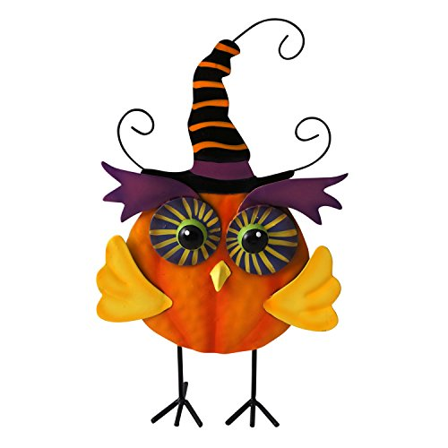 Cute Witchy Owl Halloween Greeter Standing Figure (Orange)