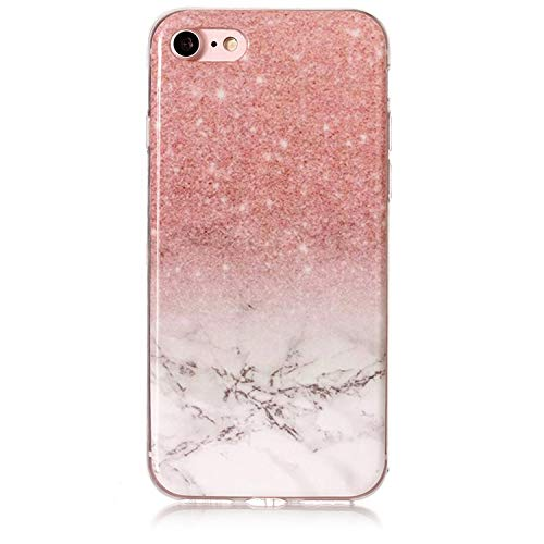 for iPod Touch 5 6 Marble Soft TPU Silicone Cover Case for iPhone Xs Max XR X 4 4S 5 5C 5S SE 6 6S 7 8 Plus Fundas Coque B02,Rose Gold White,for iPhone 5C ()
