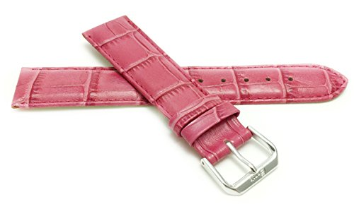 12mm Hot Pink Womens' Alligator Style Genuine Leather Watch Strap Band