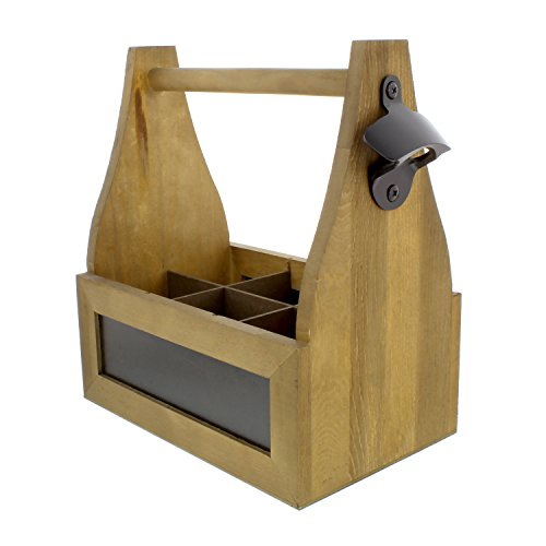 """G Francis Chalkboard Beer Caddy Walnut Wood Bottle Carrier 6-Pack Beer Soda Glass Bottle Drink Caddy 9.5 x 6.25 x 11"""" by G Francis"""