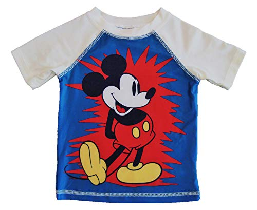 Junk Food Toddler Boys' Mickey Mouse Rash Guard Short Sleeve Shirt (Blue/Ivory, 4T)