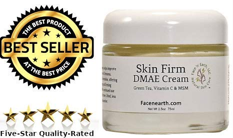 DMAE Lift & Firm Face & Neck Cream 77% Organic with MSM Vitamin C For Dry Skin, Fine Lines, Wrinkles, Helps Lift, Firm, Boosts Collagen, Soften & Smooth Skin Vegan 2.5oz