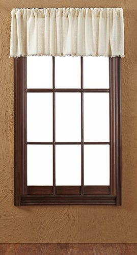 Tobacco Curtain Panel - VHC Brands 8350 Tobacco Cloth Natural Valance Fringed 16x90