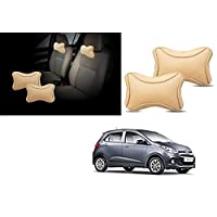 Lowrence- Premium Make Beige Designer Car Neck Rest Pillow (Set of 2 Pc) for -Hyundai -I-10 Grand