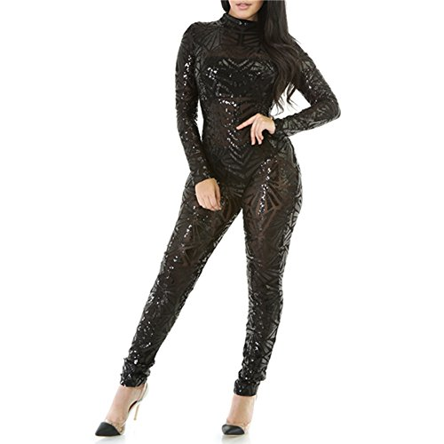 VIVOSKY Women Sequin Jumpsuits Geometric Tattoo Bodycon Club Rompers Bodysuit (L, Sequin: Black) ()