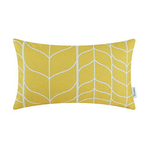 CaliTime Canvas Bolster Pillow Cover Case for Couch Sofa Home Decoration Modern Chevron Stem Panels Geometric 12 X 20 Inches Vibrant Yellow
