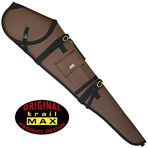 (TrailMax Guardian Rifle Scabbard, Gun Case, Accommodates 30 inch Barrel & 56mm Scope with 1 inch Turrets, Secure on a Horse or ATV, Water Resistant 600 Denier Poly Shell, Brown)