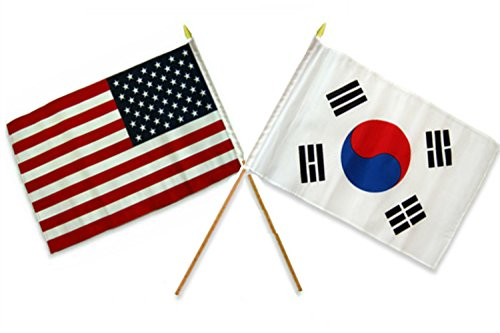 (ALBATROS 12 inch x 18 inch USA American with South Korea Stick Flag for Home and Parades, Official Party, All Weather Indoors Outdoors)