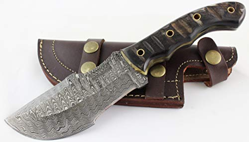 Moorhaus Damascus Tracker Knife Handmade with Genuine Sheep Horn Handle – Includes Leather Sheath