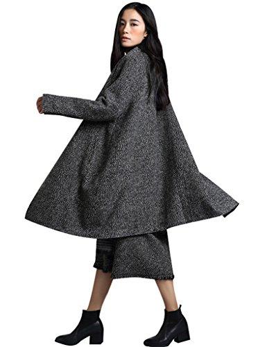 Donna 2 Collare Grigio Style Youlee Cappotto Lana Tondo Denso Giacca Di 0Pk8XnwO