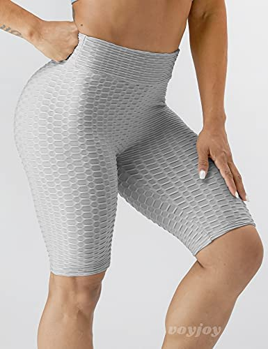 VOYJOY Women's Yoga Shorts Tummy Control Bubble Hip Lift Workout Pants Fashion High Waist Short