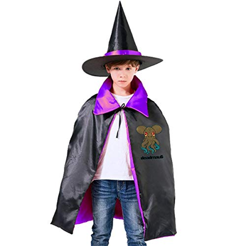 Deadmau5 Costume For Halloween (Deadmau5 Hooded Wizard Hat Cape Cloak for Magic Halloween Christmas Party Cosplay Costume Purple)