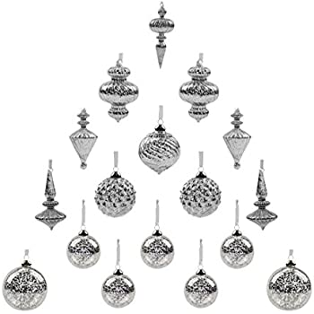 Youseexmas Mouth Blown Glass Christmas Ornaments Pack of 17 BIG Size (silver)