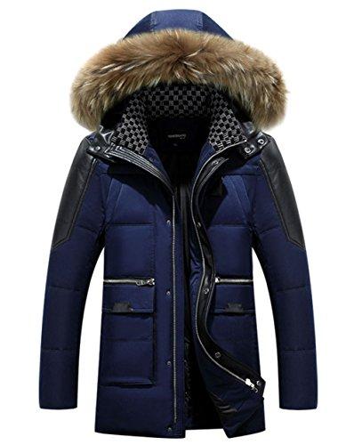 Caldo Con Autunno Pelliccia Di Removibile Addensare Jacket Inverno Blu Cappotto Field Cappuccio Casuale Maschile Giù 68ZA48q