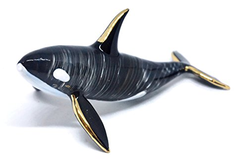 NaCraftTH Killer Whale Orca Glass Figurines Murano Glassblowing Artwork Handicraft Animal Figure Crystal Fish Tank Aquarium (Killer Whale Art)