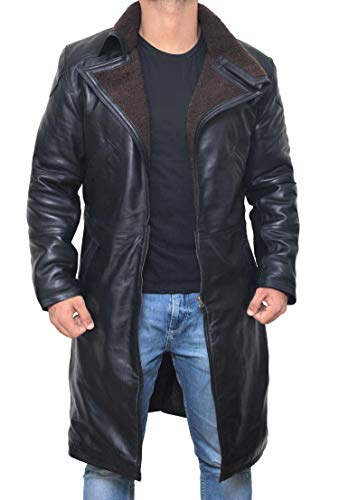 Black Trench Coat Men - Black Long Shearling Jacket Coat for Men (3XL)