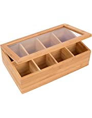 """Trademark Innovations BAMB-TEABOX 12"""" Bamboo 8-Section Tea Storage Box with Hinged Clear Lid, Tan"""