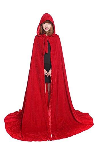 Unisex Hooded Cloak Full Length Deluxe Velvet Cape with Lined Hood, Red