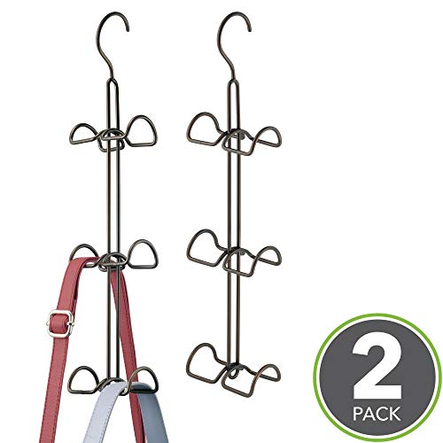 mDesign Metal Wire Over The Closet Rod Hanging Storage Organizer Hanger for Storing and Organizing Purses, Backpacks, Satchels, Crossovers, Handbags - 2 Pack - Bronze
